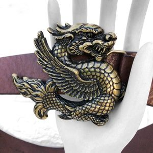 Nick & Nora Leather Chunky Dragon Festival Belt